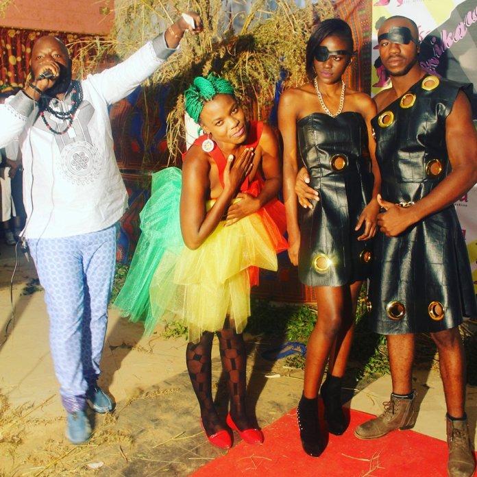 MC Katabwa Mulumbwa introduces models Nkumbu Namusamba, Afrikawala CEO Karen Nakamba and model Seth Bwembya at the Afrikawala Fashion Show