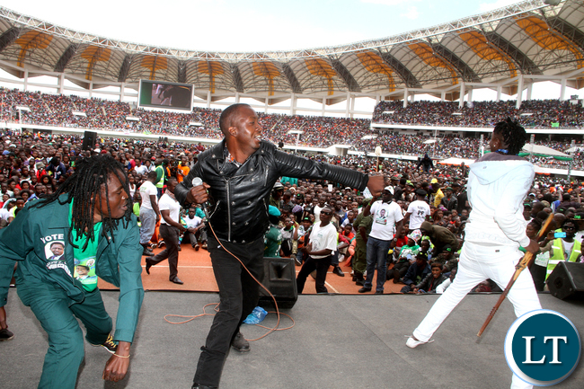 Mozegator on stage during the PF National Campaign and Manifesto Launch 2016 at Heroes Stadium in Lusaka on Saturday, May 21,2016 -Picture by THOMAS NSAMA