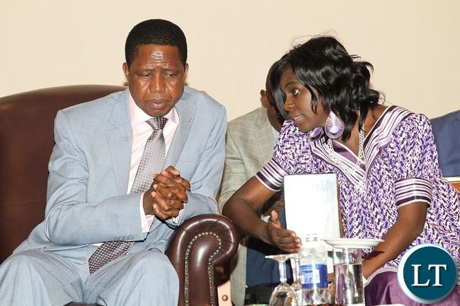 President Edgar Lungu confers with President of world food organization,Evely Nguleka during the 6th WFO gerenal Conference in Livingstone