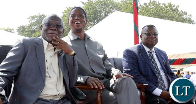 President Edgar Lungu with Minister of labour