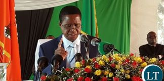 President Lungu stresses a point during the news conference