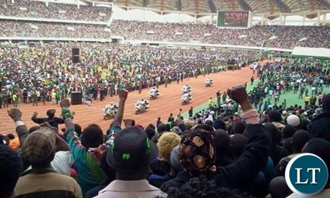 The Presidential motorcade carrying, President Edgar Lungu  pulls into Heroes Stadium to launch the PF campaigns