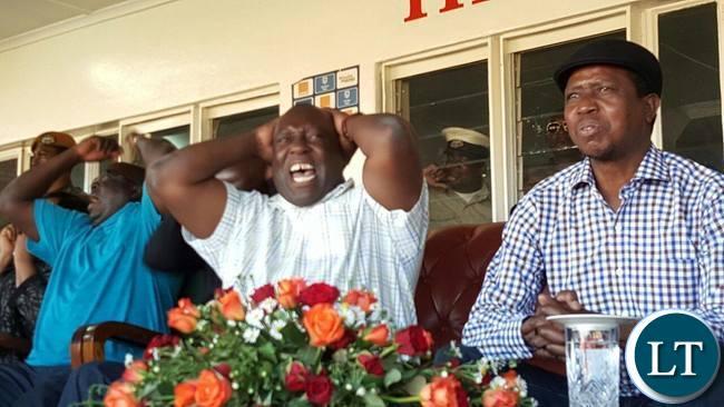 Copperbelt Minister Menye Musenga , Chishimba Kambwili watching a football match over the weekend