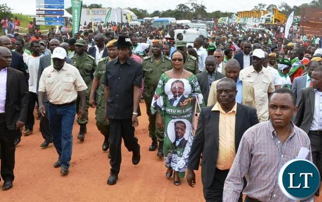 FILE: Mumbi Phiri with President Lungu inspecting Projects