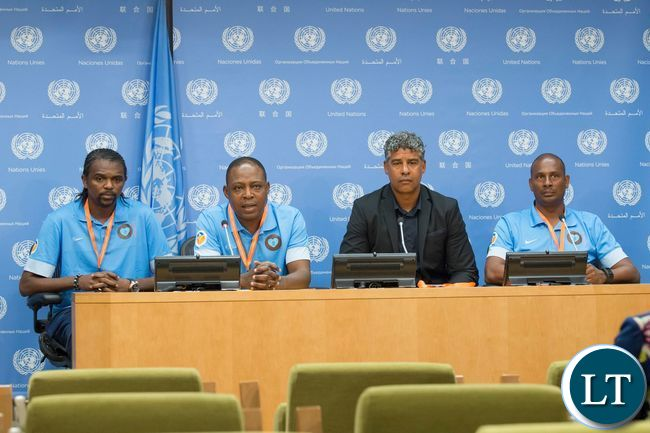 International football legends: Kalusha Bwalya (Zambia), Frank Rijkaard and Aron Winter (both of The Netherlands) and Nwankwo Kanu (Nigeria) addressing a press conference at United Nations Headquarters in New York USA on Thursday 16 June 2016 ahead of the Permanent Representatives' football tournament to promote peace and development. From left to right: Kanu, Kalusha, Rijkaard and Winter The Permanent Missions of Zambia and The Netherlands co-organised the tournament and the press conference. UN Photo/Eskinder Debebe