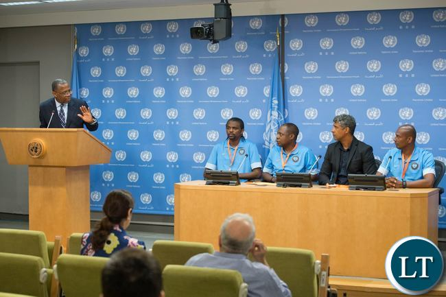 International football legends: Kalusha Bwalya (Zambia), Frank Rijkaard and Aron Winter (both of The Netherlands) and Nwankwo Kanu (Nigeria) addressing a press conference at United Nations Headquarters in New York USA on Thursday 16 June 2016 ahead of the Permanent Representatives' football tournament to promote peace and development. On the far left is UN Radio Chief Ben Dotsei Malor, moderating the press conference at UN Headquarters in New York, USA. From left to right on panel: Kanu, Kalusha, Rijkaard and Winter The Permanent Missions of Zambia and The Netherlands co-organised the tournament and the press conference. UN Photo/Eskinder Debebe