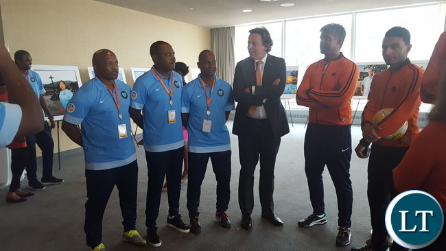 Netherlands Foreign Minister Bert Koenders talking to Kalusha Bwalya (Zambia), Frank Rijkaard and Aron Winter before the football tournament to promote peace and development on Thursday 16 June, 2016 at UN Headquarters in New York, USA. Photo | Chibaula D. Silwamba | Zambia UN Mission