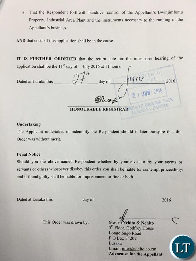 A copy of the Ex Parte Order