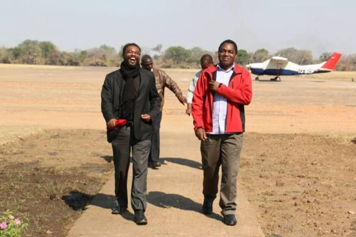 HH and Dr Banda upon landing at Mfuwe airport