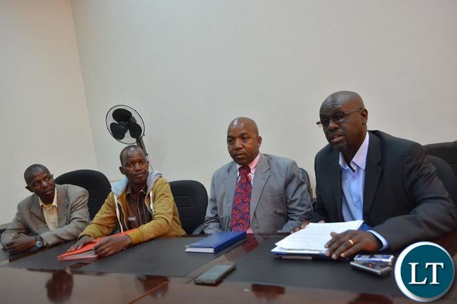 FROM RIGHT TO LEFT: Hillcrest Zambia Alumni chairperson Inambao Lubinda and other members namely Dolifor Phiri, Dennis Banda and Morgan Makota (far left) during a media briefing in Livingstone