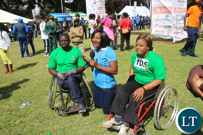 Finishing line and interviews with the physically challenged participants.