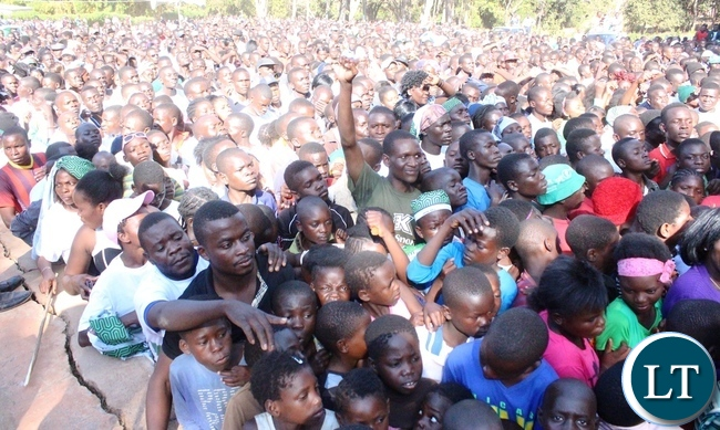 Part of the crowd that turned up at President's Park in Kasama were Information Minister Dr. Chishimba Kambwili addressed a mammoth rally today. The Minister is in Northern Province to conduct a series of public rallies to explain government programmes.