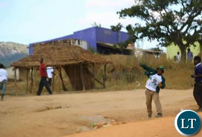 PF cadres throwing stones and other missiles at a UPND event in Nakonde