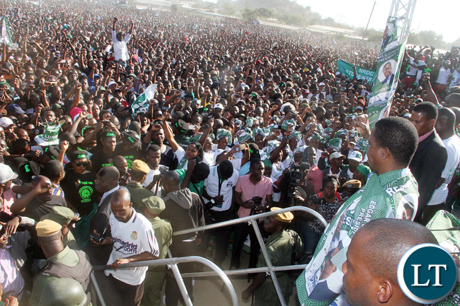 President Edgar Lungu during a rally in Lusaka's Zingalume area on Sunday, June 19,2016 -Picture by THOMAS NSAMA