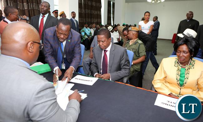 President Edgar Lungu Filling in nomination in Lusaka