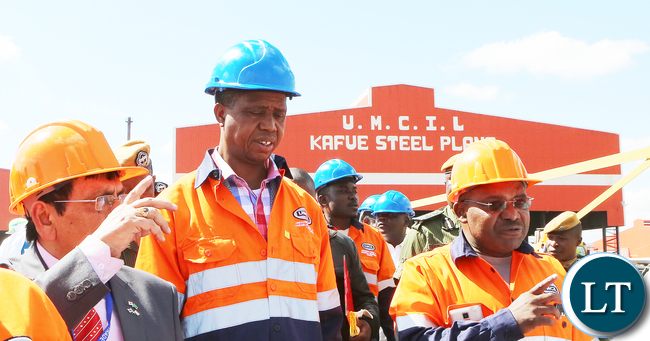 President Edgar Lungu tour at Universal Mining and Chemical Industrial plant in Kafue- Picture  by Eddie Mwanaleza/Statehouse.25-06-2016