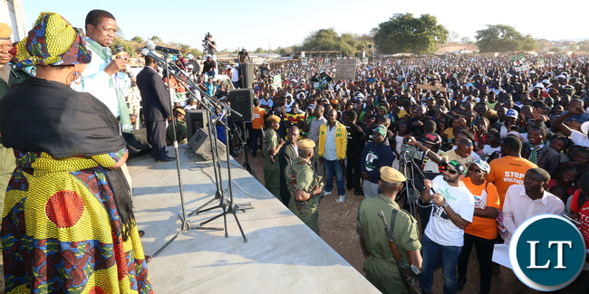 President Edgar Lungu with First Lady Esther Lungu adddress rally at Luangwa Market on Thursday - Picture by Eddie Mwanaleza/statehouse 23-06-2016.