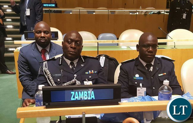 4. Zambia Police Inspector General Kakoma Kanganja, Zambia Police Service's Leo Silowa and Zambia UN Mission's Chibaula Silwamba at UN Chiefs of Police Summit at UN Headquarters in New York USA on Friday 3 June, 2016. Photo | Zambia UN Mission Press Office