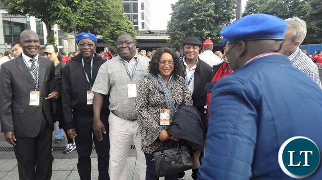 Information and Broadcasting Services, Chishimba Kambwili with his wife in Paris, France. at a European tournament football match