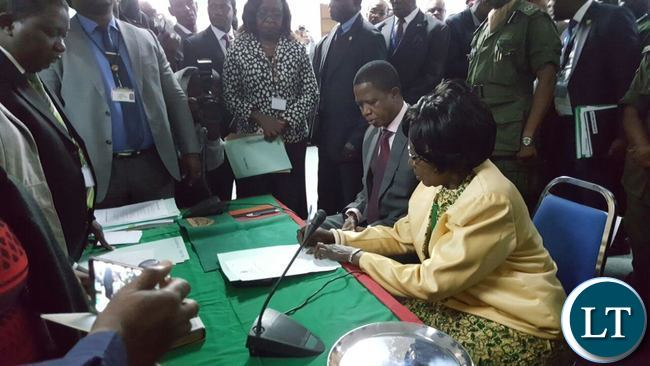 President Edgar Lungu this morning filed in his nomination papers for the August election at the Mulungushi International Conference Centre. He was accompanied by his running mate Inonge Wina.