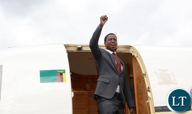 President Edgar Chagwe Lungu at Kenneth Kaunda International Airport during the departure to Uganda yesterday Picture by Josephine Nsululu/Zanis.