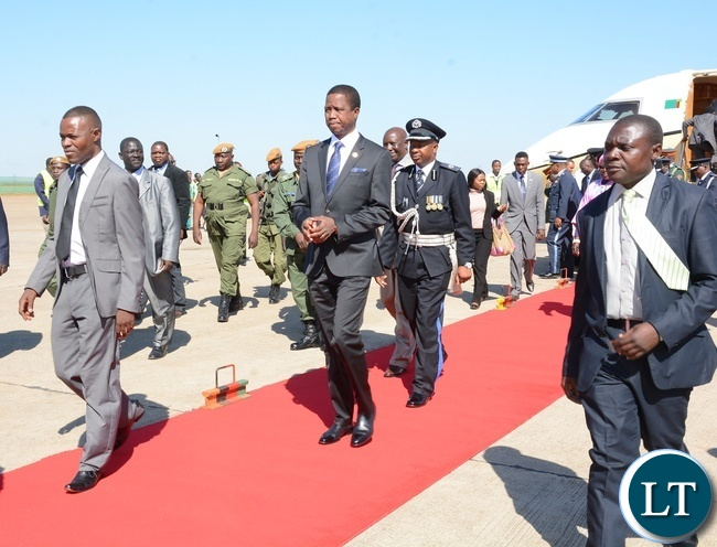 President Lungu during his arrival from Uganda at Kenneth Kaunda International Airport Lusaka