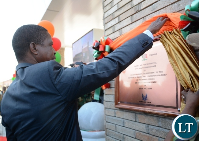 President Lungu unveils the plaque to officially open Zambia Air Force Hospital at Zambia Air Force Headquarters