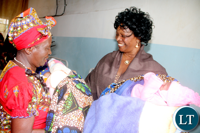 Chief Shikabeta and first lady Esther Lungu