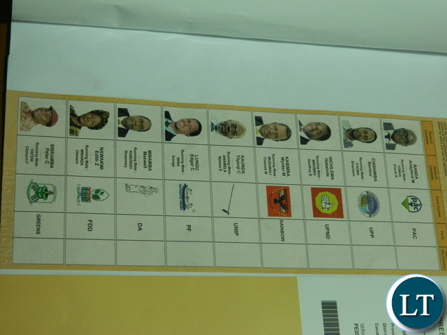The template of the presidential ballot paper for the August 11, 2016 elections