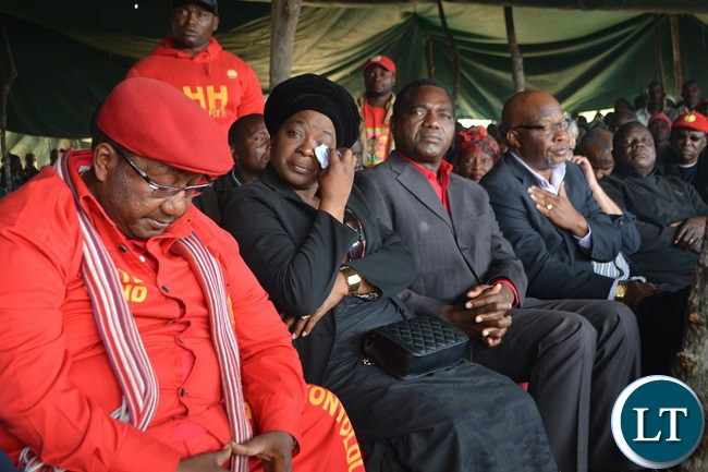 UPND vice president and running mate Geoffrey Bwalya Mwamba,UPND president's wife Mutinta Hichilema,UPND president Hakainde Hichilema and former MMD president Dr Nevers Mumba during the burial of former Kalomo Central Member of Parliament Request Muntanga in Kalomo,Southern Province