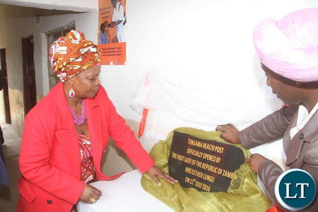 First Lady Esther Lungu during the commissioning of Tengama Rural Health Post in Rufunsa District on July 12,2016-Pictures by THOMAS NSAMA