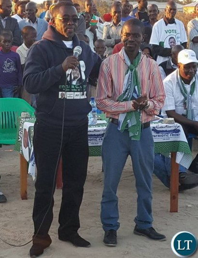 PF candidate for Luanshya constituency Steven Chungu introducing Nathan Chanda during a campaign rally in Luanshya's Ndeke area on Sunday