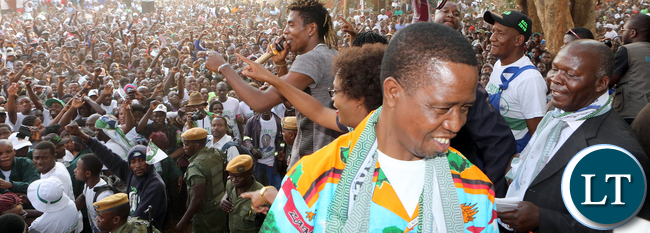 President Edgar Lungu arrive at the Rally in Mumbwa on Sunday