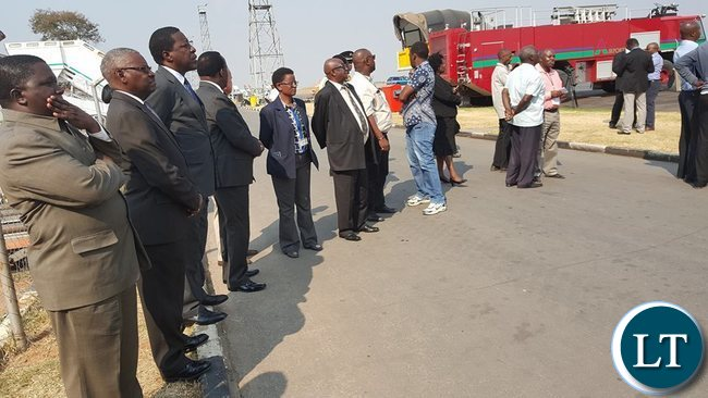 Some ECZ board members and management witnessing the   arrival of ballot papers