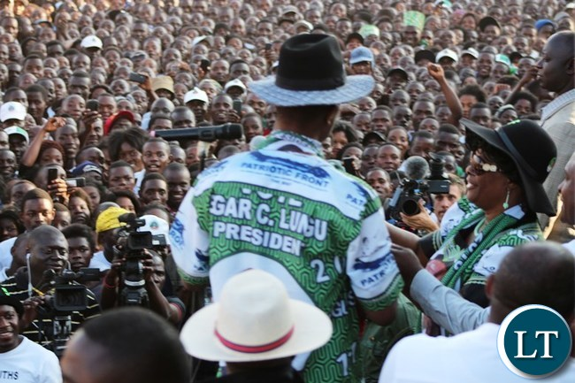 President Edgar Lungu entertains a crowed that turned up for the rally at Kasama Golf Course to woo voters ahead of the August 11 general election in Kasama today. .-picture by Mary Bwembya (ZANIS)
