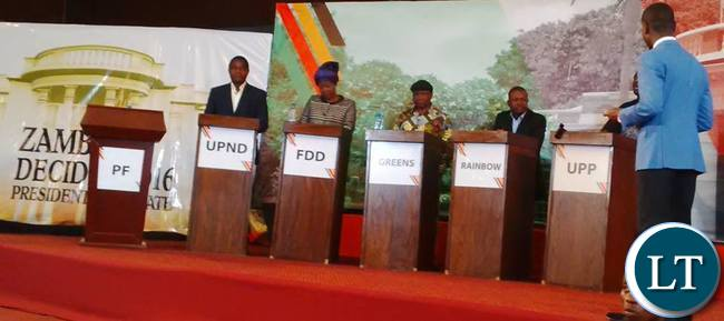 5 out of 9 candidates participated in the presidential  debates moderated by Muvi TV's Costa Mwansa