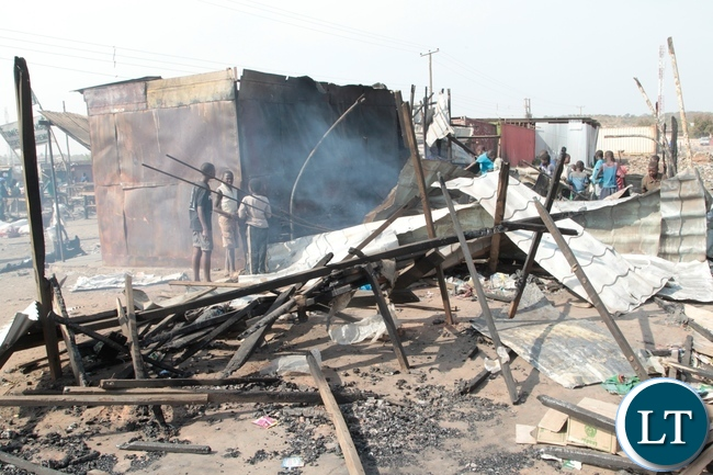 Shops burnt down by suspected UPND cadres at Bauleni Market