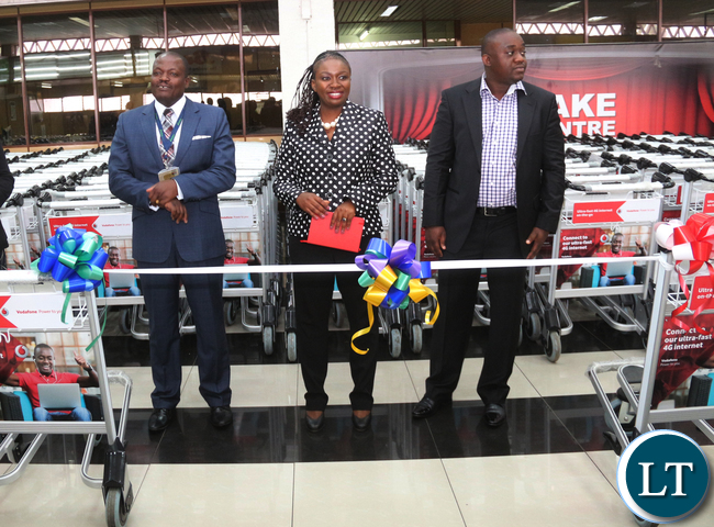 L-R Zambia Airport Corporation Limited Managing Director Mr Robinson Msitala;Vodafone Zambia Sales & Distribution Director Mrs Leah Kooma and Prosign Zambia Managing Director Michael Musonda.