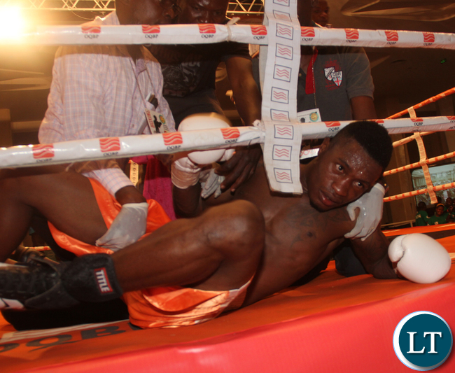 DRC boxer Mbiya Nkanku being sen to the carpet by Tanzanian Twaha Kiduku the former lost via a KO during a Welterweight non tight fight.