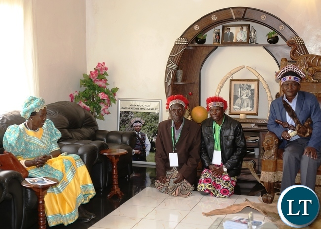 VICE President Inonge Wina is greeted by the Mwata's indunas as the Mwata looks on. This is when the Vice President paid a courtesy call on the Mwata shortly before she graced this year's Mutomboko ceremony.