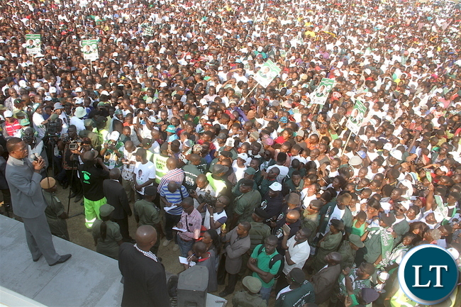 President Lungu addresses a rally in  Luanshya on Monday, August 1,2016 -Pictures by THOMAS NSAMA