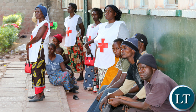 Redcross at Namwala looking after Victims camped at Secondary School