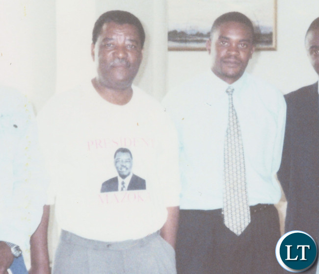 UPND Founder Anderson Mazoka at his house with the Joshua Nyirenda, the leader then leader of UPND UNZA underground branch in 2000
