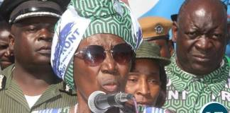 Vice-President Inonge Wina speaks when President Lungu arrived at Mongu Airport for Rallies on Monday, August 8,2016-Picture by THOMAS NSAMA