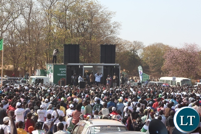 FORMER Republican President, Rupiah Banda, greets the people at Lundazi market grounds where President Edgar Lungu addressed a rally