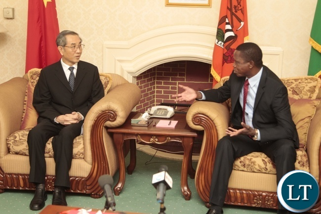 President Edgar Lungu speaks Ma Biao special envoy from China who is also the Vice Chairman of Chinese Political Consultative Conference at State House