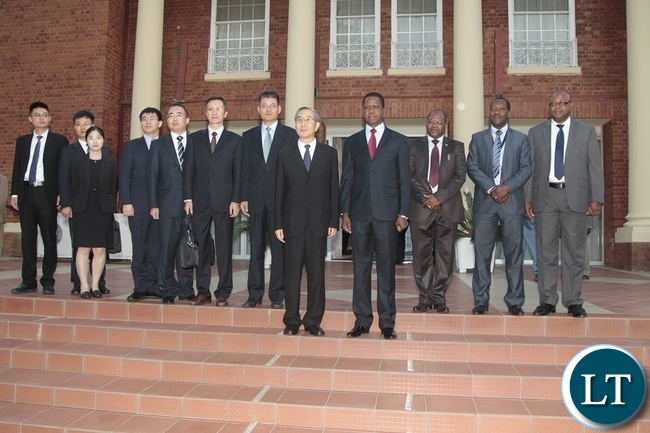 President Edgar Lungu(third from right) Ma Biao special envoy from China who is also the Vice Chairman of Chinese Political Consultative Conference (fourth from right) pose for official photograph with there officials at State House