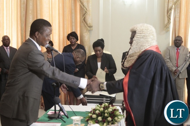 President Edgar Lungu congratulates Newly appointed Speaker of the National Assembly Patrick Matibini during swearing in Ceremony