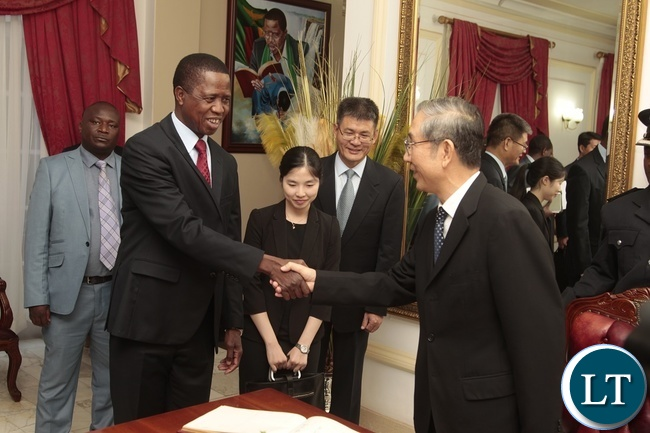 President Edgar Lungu shake hands with Ma Biao special envoy from China who is also the Vice Chairman of Chinese Political Consultative Conference at State House