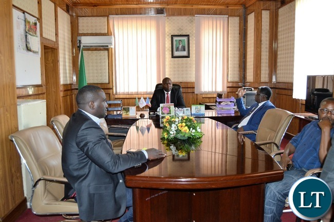 Copperbelt Minister Bowman Lusambo meets Provincial Permanent Secretary Rev. Howard Sikwela after he reporting for duty on Friday